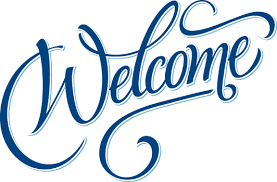 Image of the word Welcome.