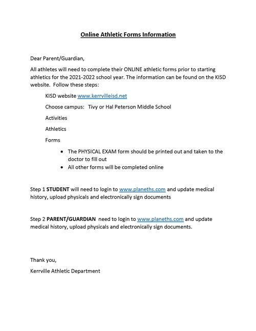 Online Athletic Forms Instructions